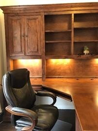 """Gorgeous Custom Built by Stone Creek Double Office; Up and down lighting, 7'9"""" H x 12' 1 1/2"""" Wide Desk extends out 88"""" from the center."""