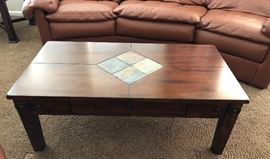 Wood Coffee Table w Slate Inlay and Built-in Drawer