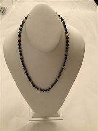 Lapis Lazuli and 14 K gold bead necklace.