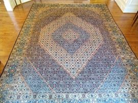 "Vintage Persian Bidjar rug, hand woven, 100% wool face, measures 8' 5"" x 11' 10""."