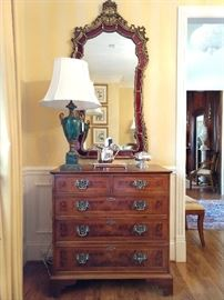 One of three burl wood chests, with pencil inlay, from Englishman's Fine Furnishings (S. Atlanta Rd.).
