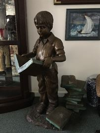 Large Bronze young boy w/ books statue, unsigned