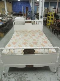 Painted full size bed with mattress set