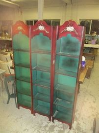 Set of 3 painted bookcases