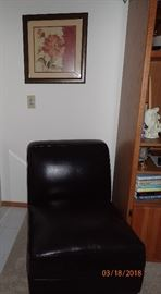 LEATHER ARMLESS SIDE CHAIR / WALL ART