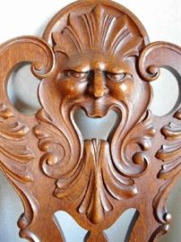 OLD NORTH WIND OR GREEN MAN CARVED CHAIR