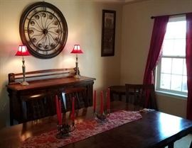 Beautiful Dark Wood Furniture. Table comes with 4 chairs and 2 leaves (photos are without leaves)