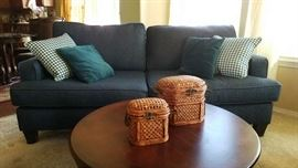 Contemporary Couch, Pillows, Baskets