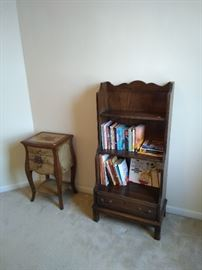 hand painted table and wooden bookcase with drawer