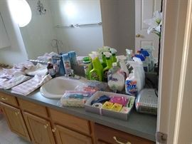 cleaning supplies and bath linens