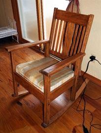 Wood Frame Slat Back Rocking Chair
