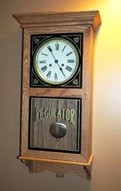 "Handcrafted Pendulum Regulator Wall Clock, Original Key, Glass Door, 29.75""H x 14.75"" x 7.25""D, Handcrafted By Nelson Borden, Circa 1986"