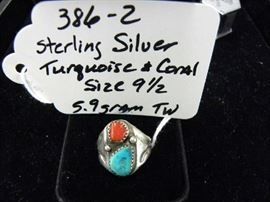 Sterling Silver, Turquoise, Coral Ring