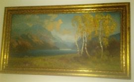 """LARGE LANDSCAPE IN ORIGINAL PERIOD FRAME WITH STRETCHERS  SIGNED LOWER RIGHT ROBERT A. FOX PAINTING 18"""" x 30"""""""