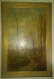 """LARGE LANDSCAPE WITH STRETCHERS SIGNED ROBERT ATKINSON FOX LOWER LEFT 30"""" x 22"""""""
