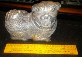 Chinese Export Silver Kylin Foo Dog Mythical Beast Tobacco or Betel Nut Box