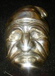 Italian Silver PULCINELLA commedi del arte theater mask plaque