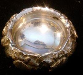 Japanese Iris Silver Salt Cellar Bowl