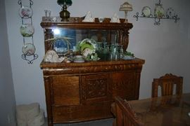 STUNNING ANTIQUE OAK BUFFET -DEPRESSION GLASS AND CHINA COLLECTION