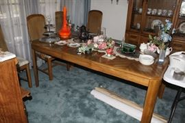 Dining Room Table with Leaf and Six Cane Back Chairs (Two Captain Chair)