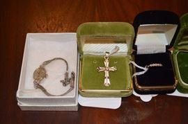 14k Ladies Hamilton Watch w 10K Band, 14k Cross w/ diamond, 14k ring w diamonds