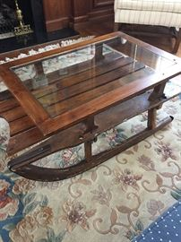 Vintage sleigh coffee table