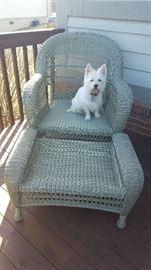 $125     Wicker chair & ottoman (cushions not shown)