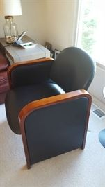 $150  Black leather chair/wood arms  (Protocol)