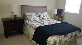 $150   Grey upholstered headboard for queen bed