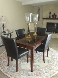 Maple / Glass Dinette Table with 4 Padded Chairs