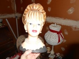 Very large vintage ladies head planter with bead necklace