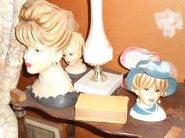 Four vintage Ladies heads - in terrific condition!