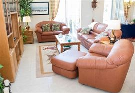 Leather Sofa living room set with coffee tables and stand