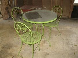 small patio furniture:  table & 3 chairs
