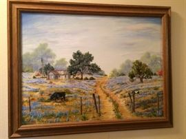 Beautiful oil of blue bonnets, scenic