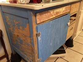 Vintage enamel top side boatd cabinet