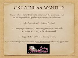 Greatness Wanted on our Team : )