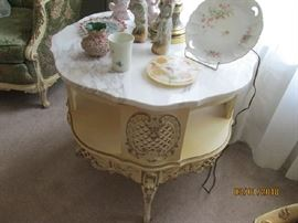 French 2 tier lamp table