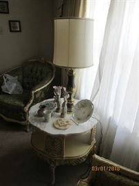 French two tier marble top lamp table