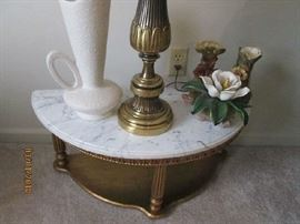 Small marble top half table