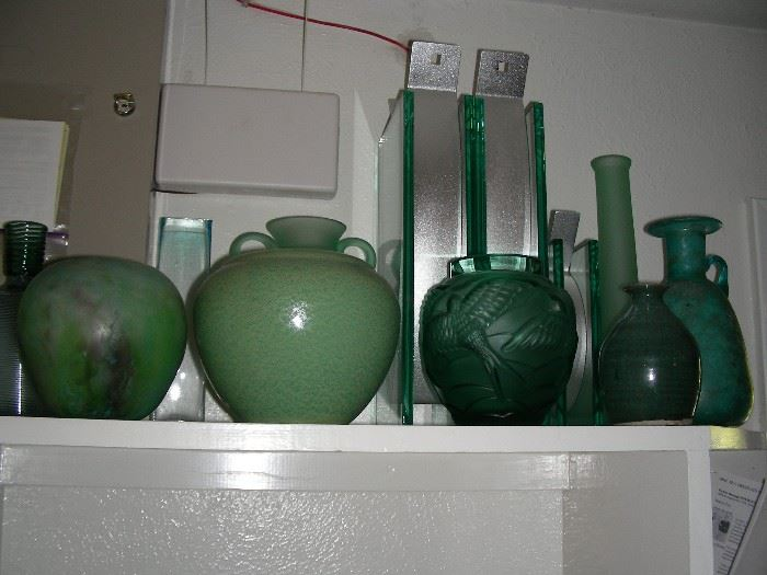 glass and pottery vases