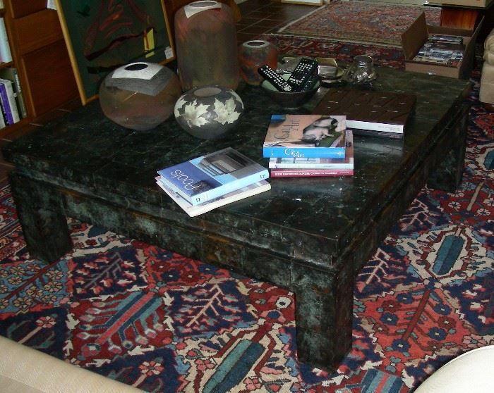 Tinned coffee table, raku pottery, Oriental rug