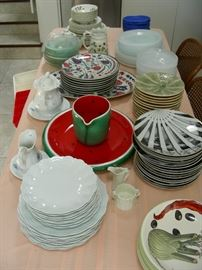 Set of 15 Fornasetti Julia plates (to right of watermelon platter and pitcher)