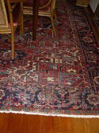 Oriental rug in dining room