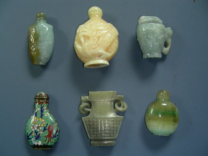 Jade and Cloisonne snuff bottles