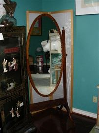 Cheval mirror, folding screen