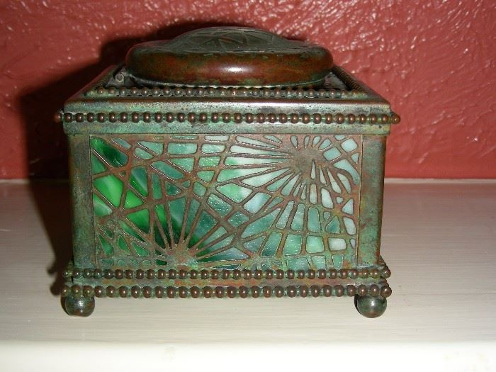 Tiffany pine needles inkwell