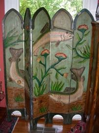 5-panel folding screen decorated with fish