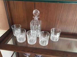 Crystal brandy decanter and 5 high-ball crystal glasses