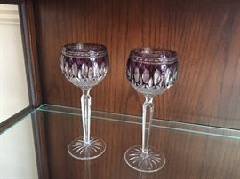 Waterford - 2 claret wine hock glasses